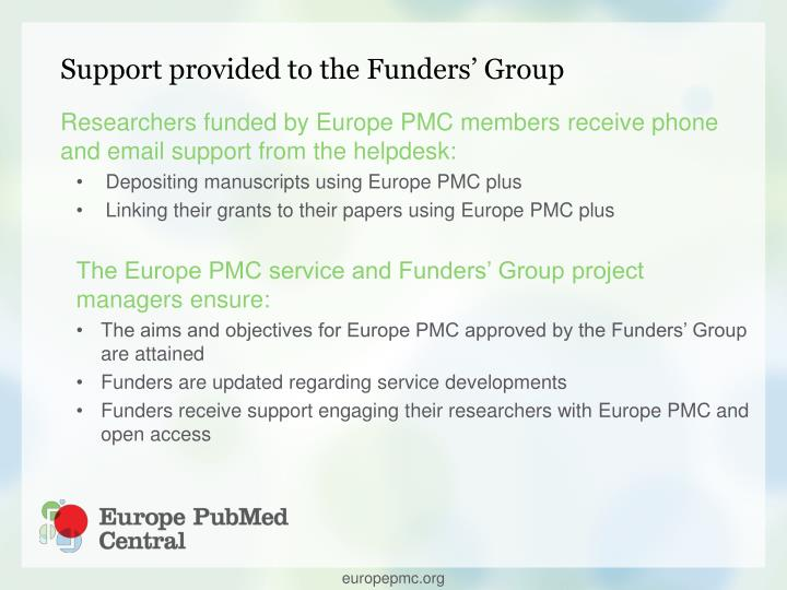 Support provided to the Funders' Group