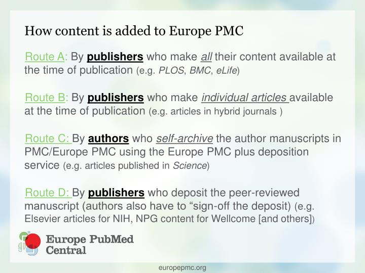 How content is added to Europe PMC