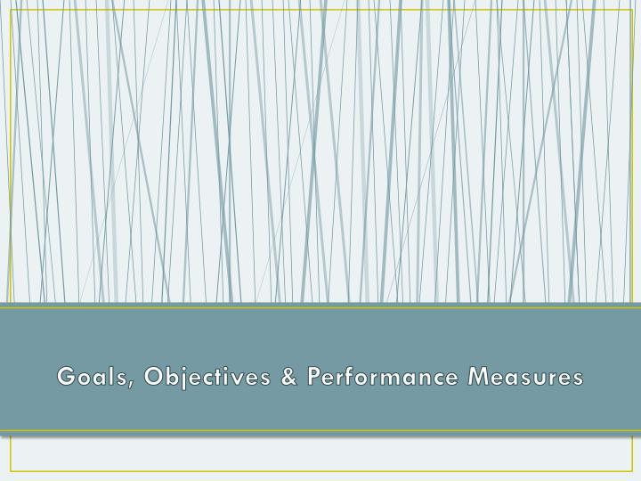 Goals, Objectives & Performance Measures