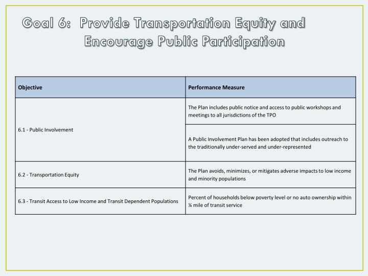 Goal 6:  Provide Transportation Equity and Encourage Public Participation