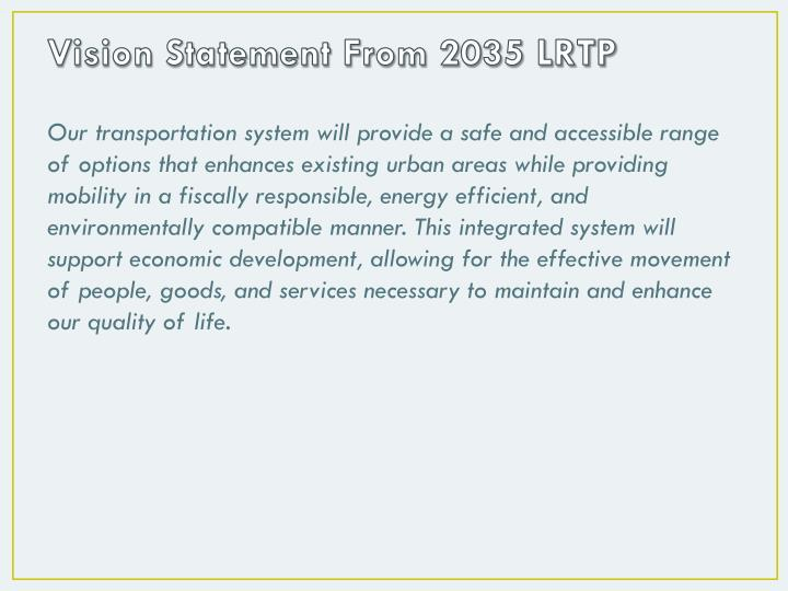 Vision Statement From 2035 LRTP