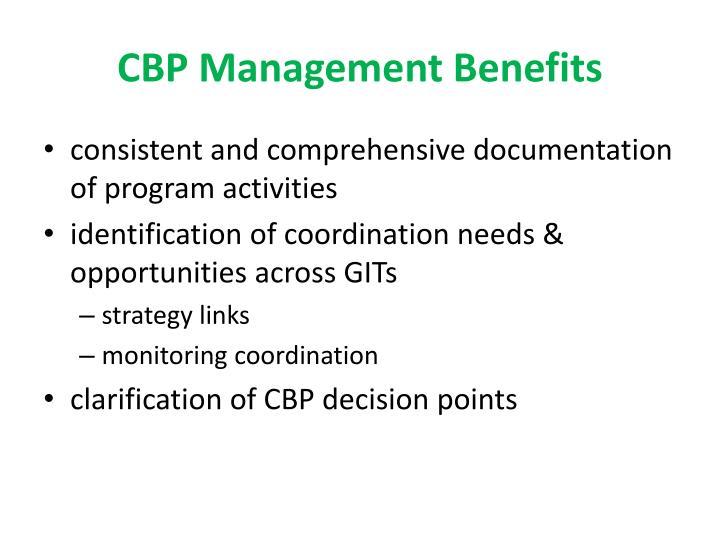 CBP Management Benefits