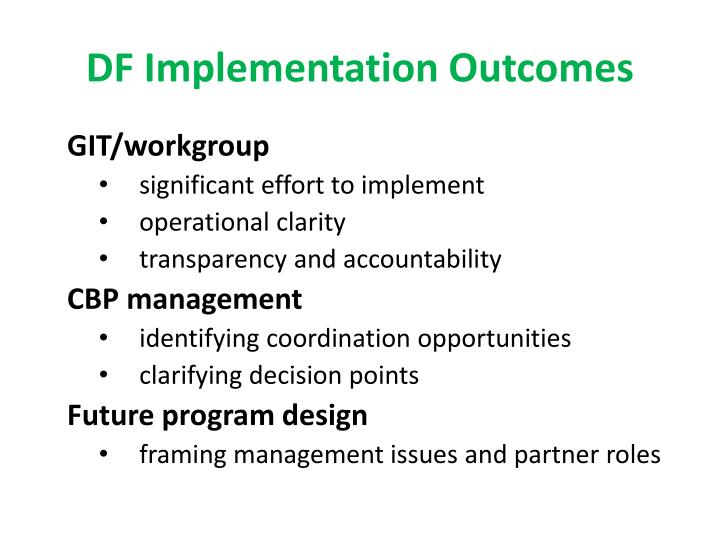 DF Implementation Outcomes