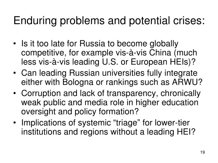 Enduring problems and potential crises: