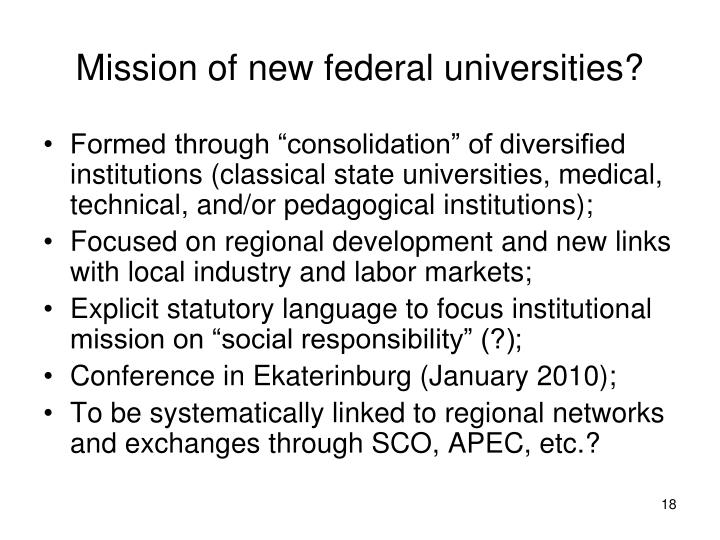 Mission of new federal universities?