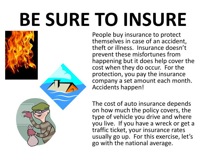 BE SURE TO INSURE