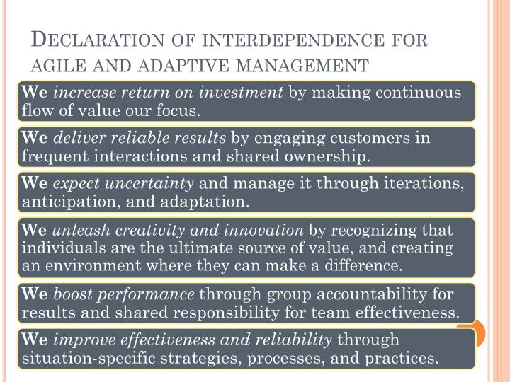 Declaration of interdependence for agile and adaptive management