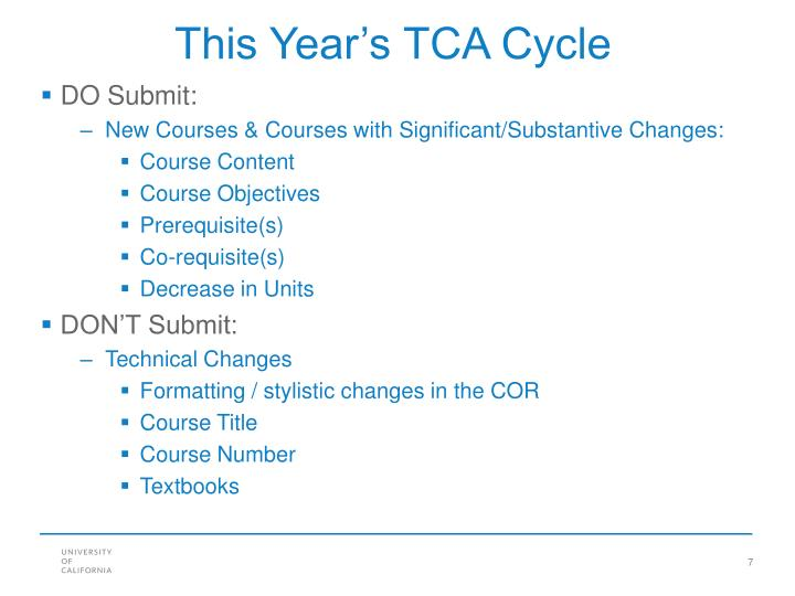 This Year's TCA Cycle