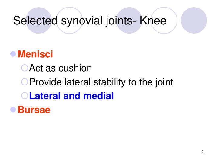 Selected synovial joints- Knee