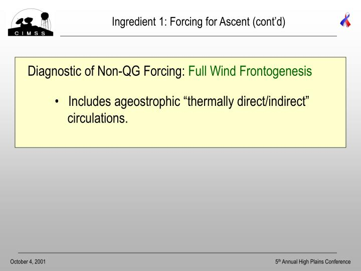 Ingredient 1: Forcing for Ascent (cont'd)