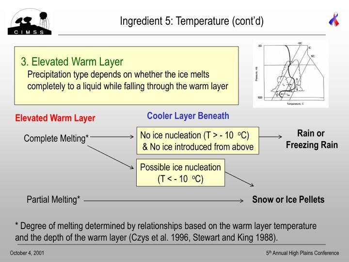 Ingredient 5: Temperature (cont'd)
