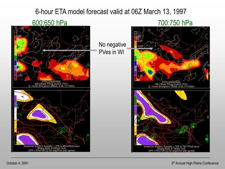 6-hour ETA model forecast valid at 06Z March 13, 1997