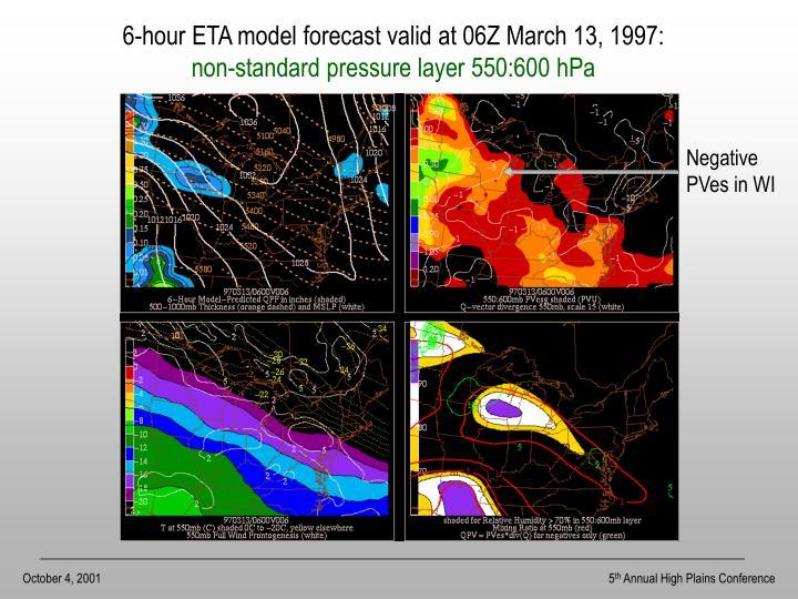 6-hour ETA model forecast valid at 06Z March 13, 1997: