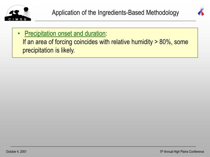 Application of the Ingredients-Based Methodology