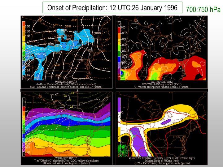 Onset of Precipitation: 12 UTC 26 January 1996