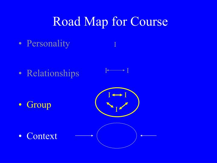 Road Map for Course
