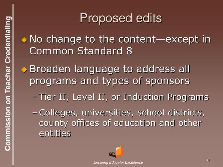 Proposed edits
