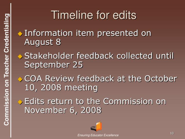 Timeline for edits