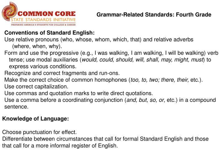 Grammar-Related Standards: Fourth Grade