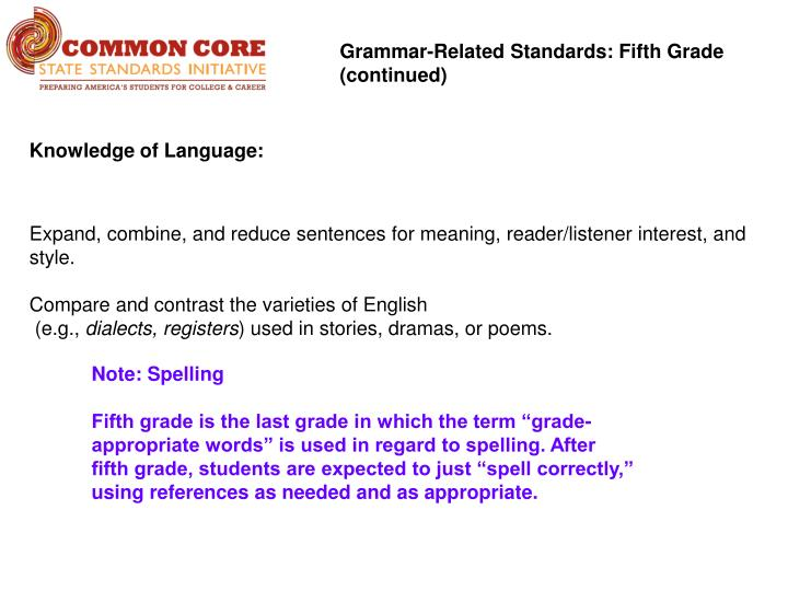 Grammar-Related Standards: Fifth Grade