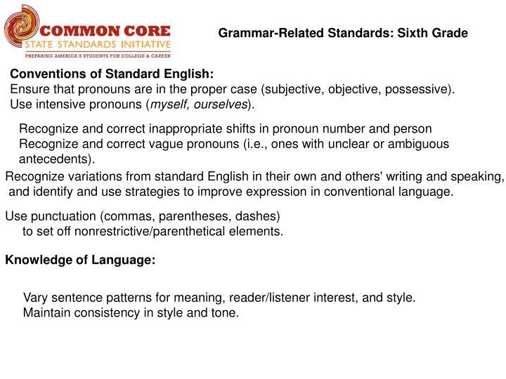 Grammar-Related Standards: Sixth Grade