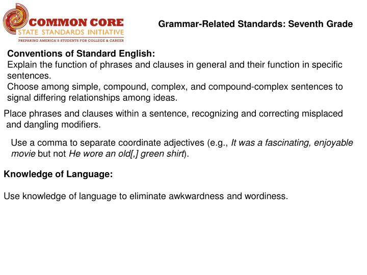 Grammar-Related Standards: Seventh Grade