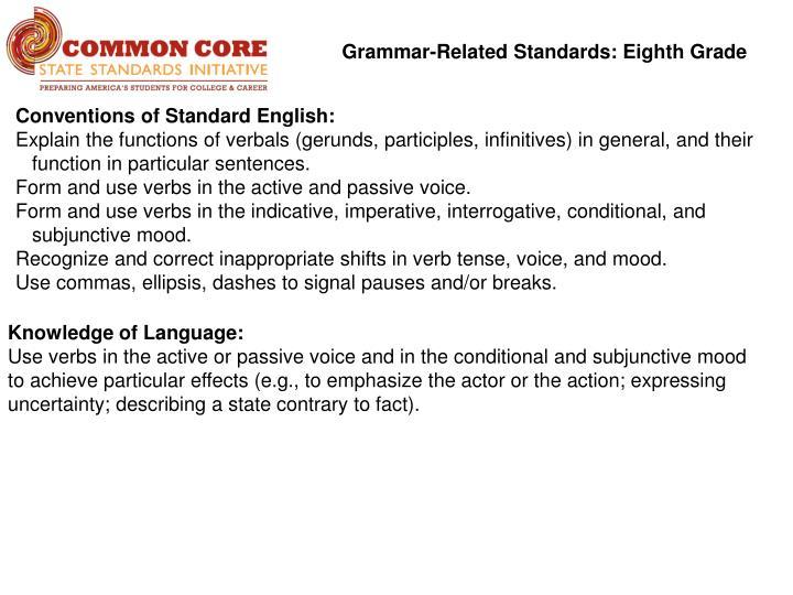 Grammar-Related Standards: Eighth Grade