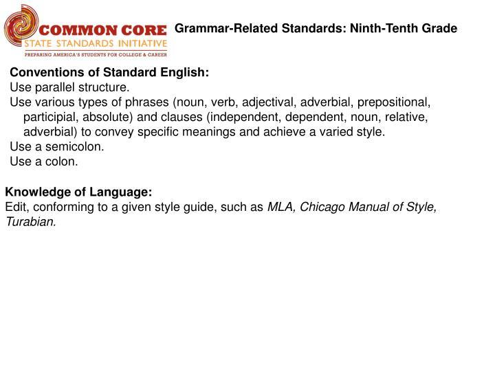 Grammar-Related Standards: Ninth-Tenth Grade