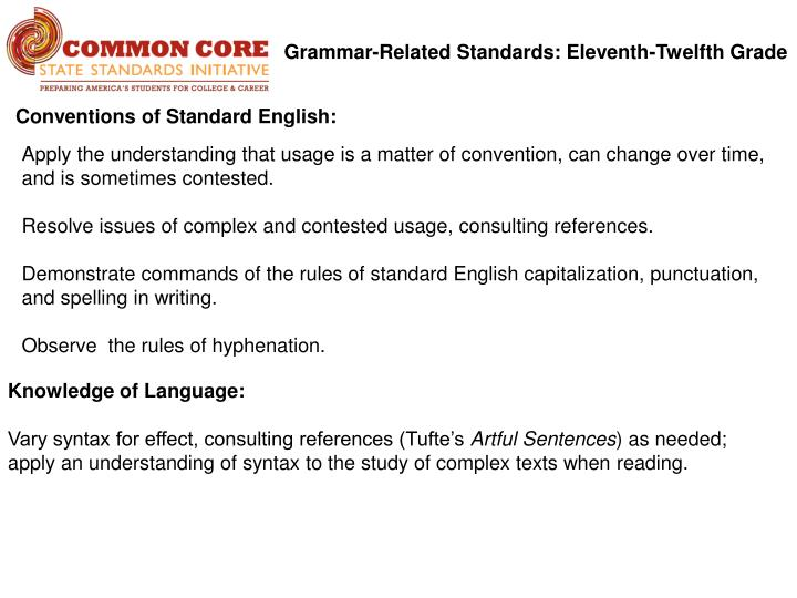Grammar-Related Standards: Eleventh-Twelfth Grade