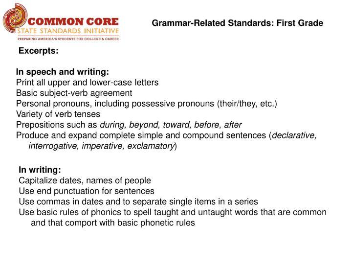 Grammar-Related Standards: First Grade