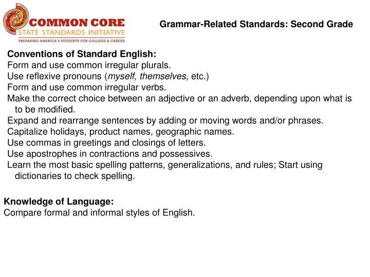 Grammar-Related Standards: Second Grade