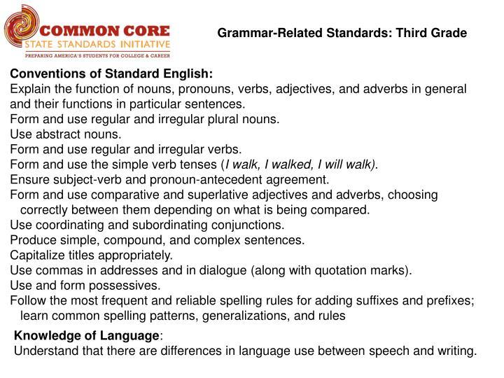 Grammar-Related Standards: Third Grade