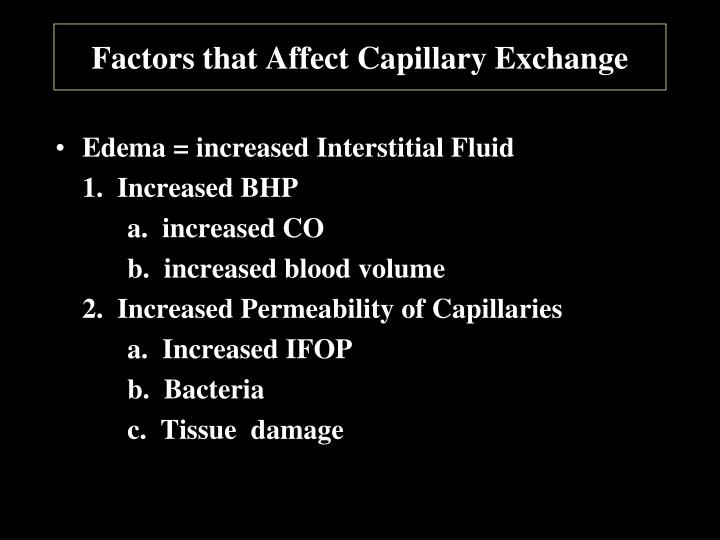 Factors that Affect Capillary Exchange