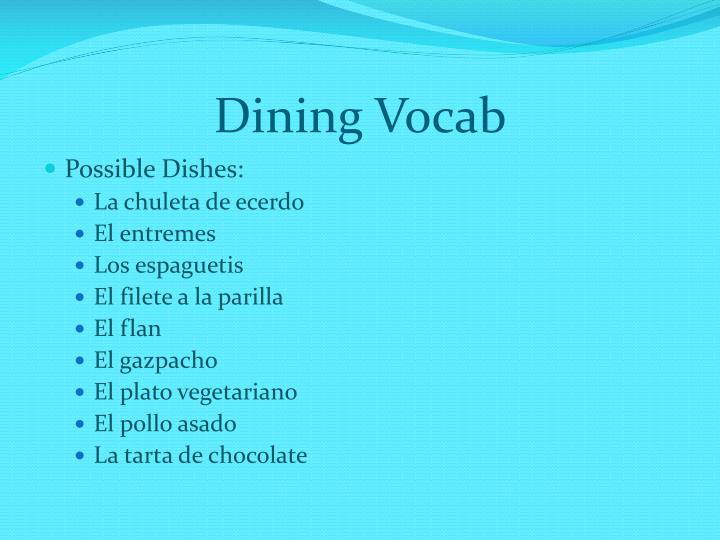 Dining Vocab