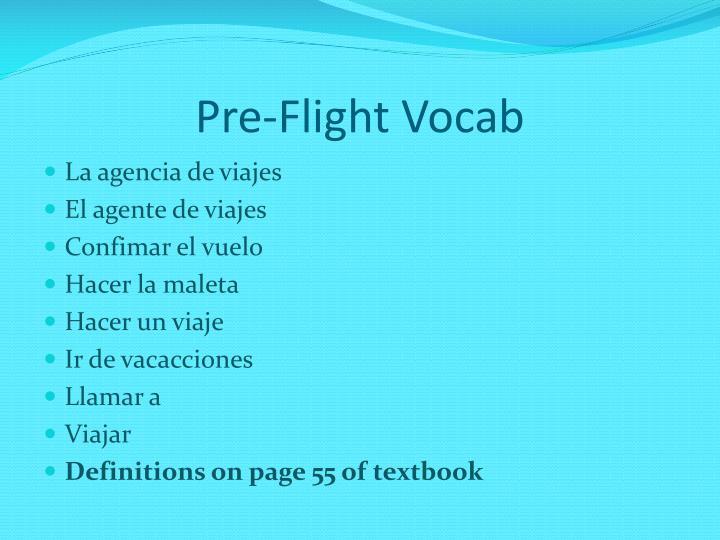 Pre-Flight Vocab