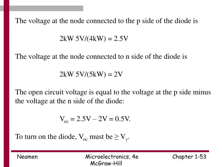 The voltage at the node connected to the p side of the diode is