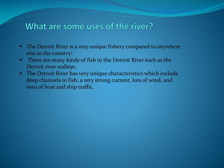 What are some uses of the river