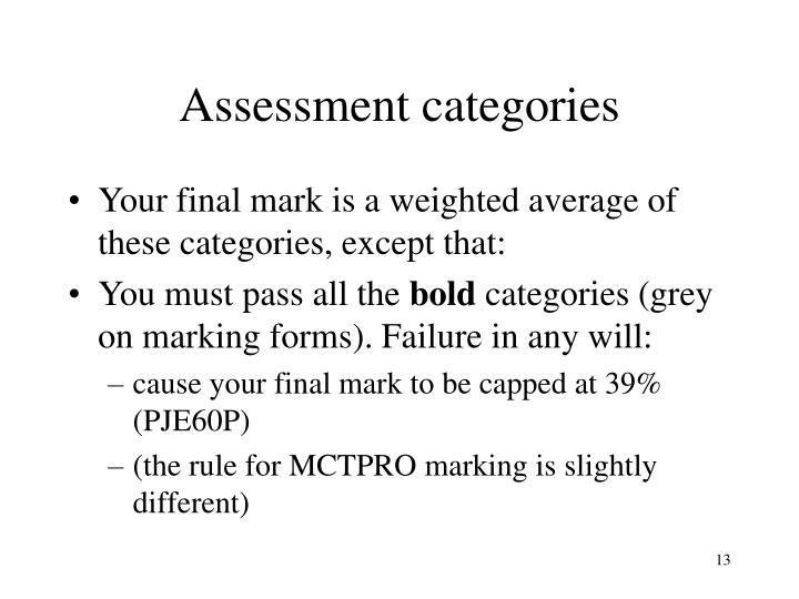 Assessment categories