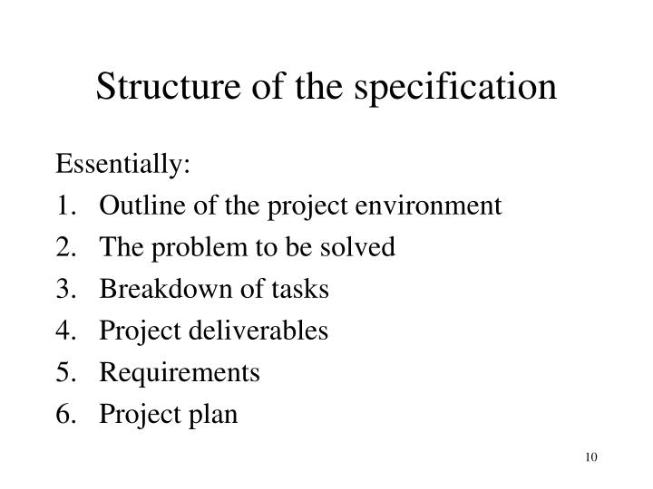 Structure of the specification