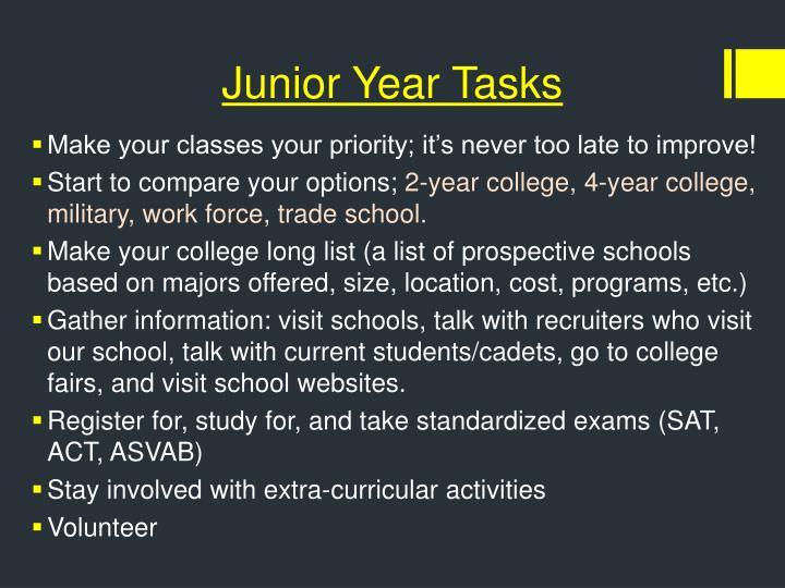 Junior Year Tasks