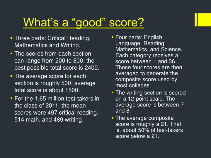 "What's a ""good"" score?"