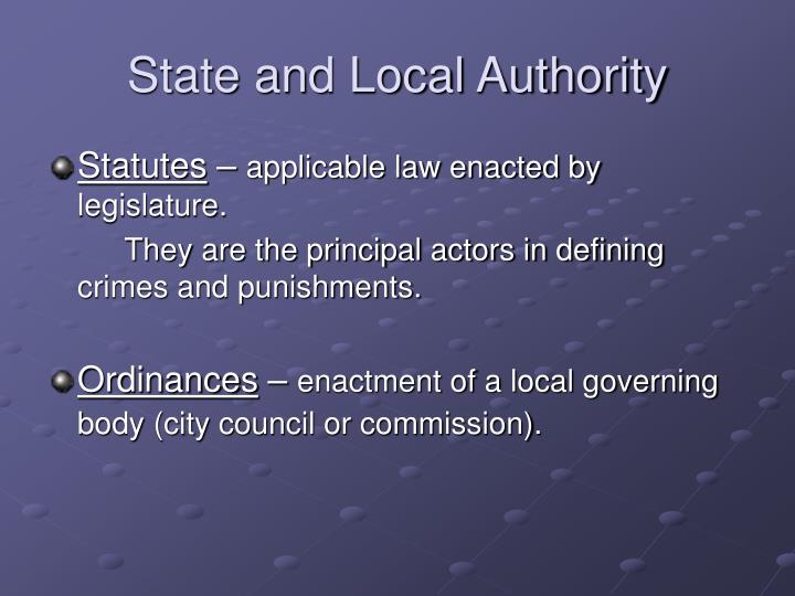 State and Local Authority