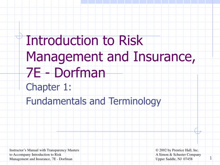 Introduction to risk management and insurance 7e dorfman