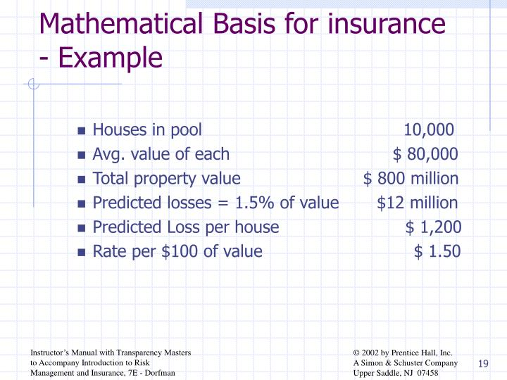 Mathematical Basis for insurance - Example