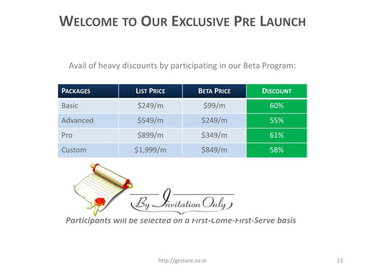 Welcome to Our Exclusive Pre Launch