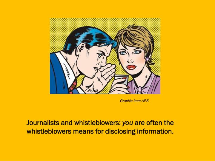 Journalists and whistleblowers you are often the whistleblowers means for disclosing information