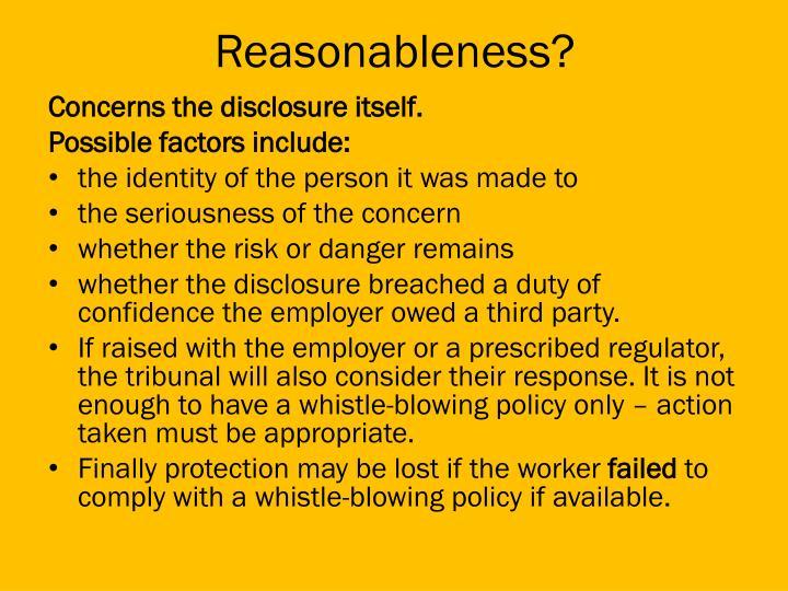 Reasonableness?