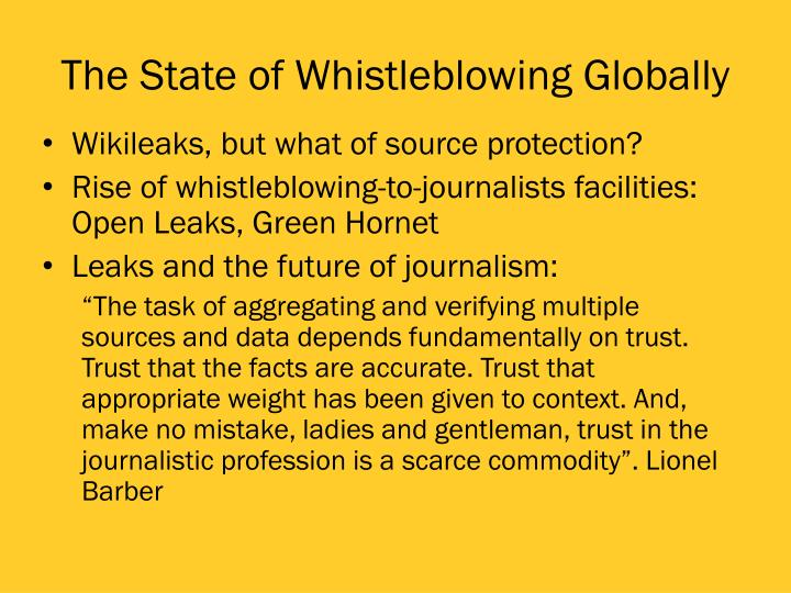 The State of Whistleblowing Globally