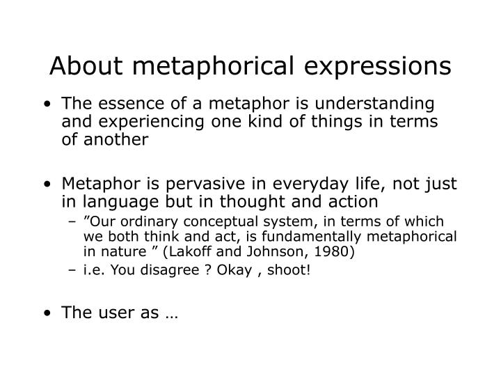 About metaphorical expressions
