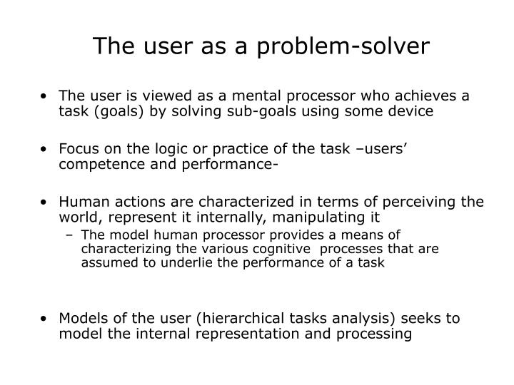 The user as a problem solver